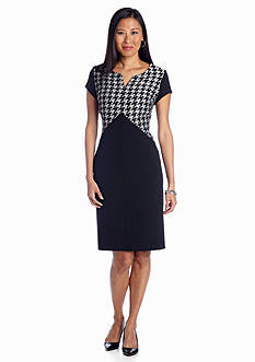 Jones New York Dress Hounds Tooth Shift Dress
