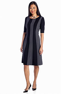 Jones New York Dress Veritcal Stripe A-Line Dress