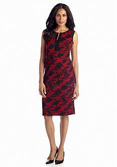 Jones New York Dress Split-neck Printed Sheath Dress