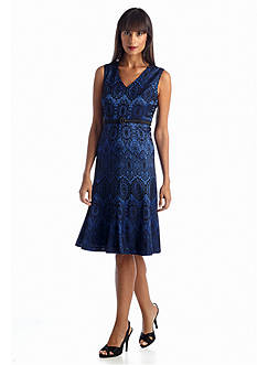 Jones New York Dress Printed Bonded Lace Fit and Flare Belted Dress