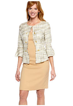 Jones New York Dress Tweed Peplum with Fringe Jacket Dress