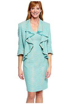 Jones New York Dress Tweed Cascade Fringe Jacket Dress