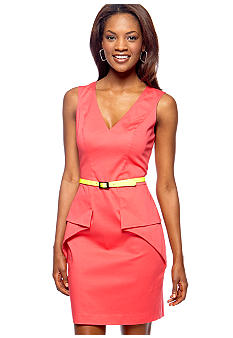 Vince Camuto Sleeveless V-Neck Belted Peplum Sheath Dress
