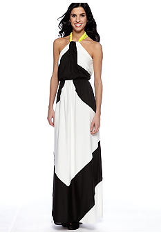 Vince Camuto Black & White Colorblock Maxi Dress