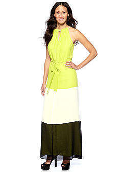Vince Camuto Colorblock Halter Chiffon Dress