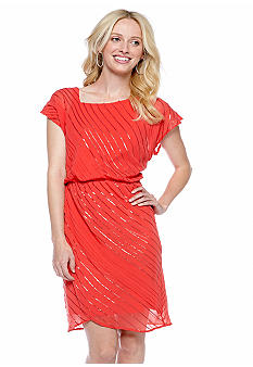 Vince Camuto Cap-Sleeved Blouson Dress with Sequin