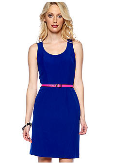 Vince Camuto Sleeveless Structured Body-Con Belted Dress