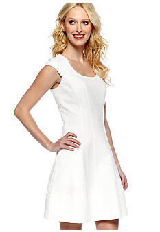 Vince Camuto Cap-Sleeved Fit and Flare Jacquard Dress