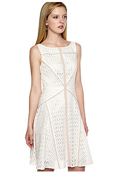 Vince Camuto Sleeveless Eyelet Fit and Flare Dress