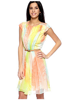 Vince Camuto Cap-Sleeved Fit and Flare Belted Dress