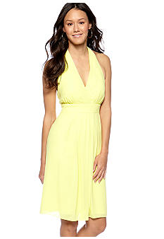 Vince Camuto Halter Dress with Pleated Neckline