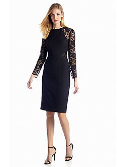 Long-Sleeve Sheath Dress with Lace