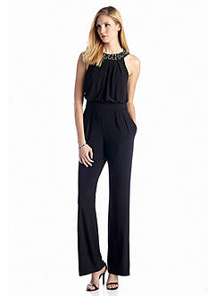 Vince Camuto Beaded Halter Jumpsuit