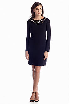 Vince Camuto Long Sleeve Sheath Dress with Bead Embellishment