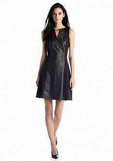 Vince Camuto Sleeveless A-line Dress with Faux Leather
