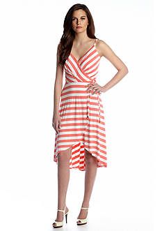 Vince Camuto Faux Wrap Hi-Lo Stripe Dress