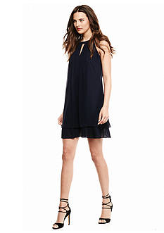 Vince Camuto Halter Dress with Pleated Flounce Hem