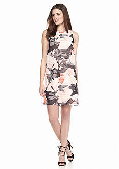 Vince Camuto Floral Printed Overlay Shift Dress