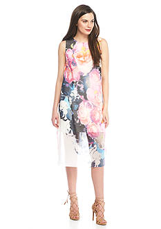 Vince Camuto Floral Chiffon Overlay Sheath Dress
