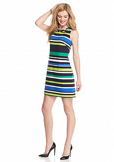 Vince Camuto Bead Embellished Stripe Sheath Dress