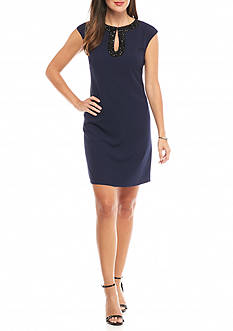Vince Camuto Bead Embellished Neckline Shift Dress