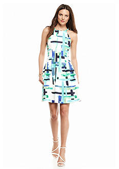 Vince Camuto Printed Halter Fit and Flare Dress