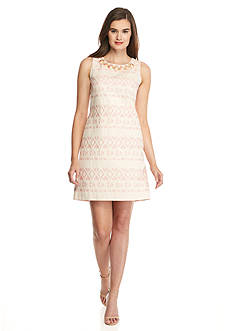 Vince Camuto Embellished Neck Jacquard Sheath Dress