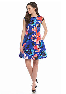 Vince Camuto Floral Printed Fit and Flare Dress