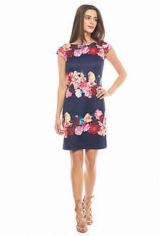 Vince Camuto Floral Printed Scuba Shift Dress