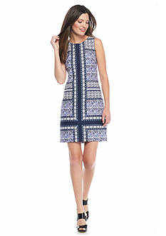 Vince Camuto Printed Scuba Sheath Dress