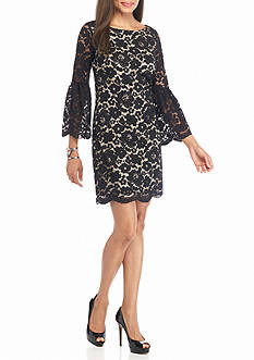 Vince Camuto Bell-Sleeve Lace Shift Dress