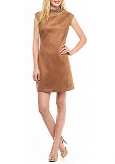 Vince Camuto Bead Embellished Faux Suede Sheath Dress