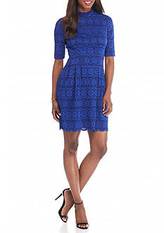 Vince Camuto Bonded Lace Fit and Flare Dress