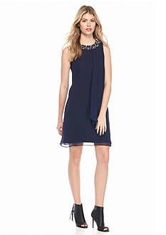 Vince Camuto Bead Embellished Chiffon Dress