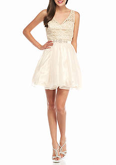 sequin hearts Lace Bodice with Tulle Skirt Party Dress