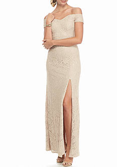 sequin hearts Off the Shoulder Lace Gown