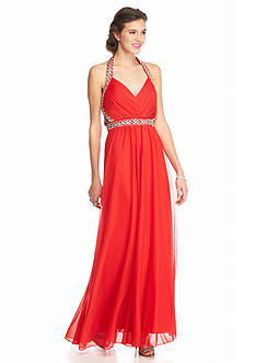sequin hearts Bead Embellished Halter Gown