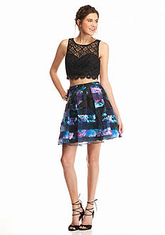 My Michelle Two-Piece Floral and Lace Halter Dress