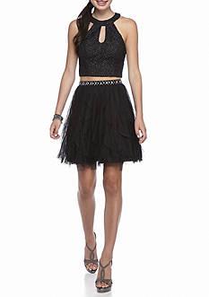 sequin hearts Two-Piece Halter Skirt Set