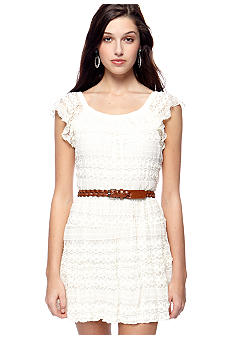 My Michelle Short Sleeve Belted Lace Dress