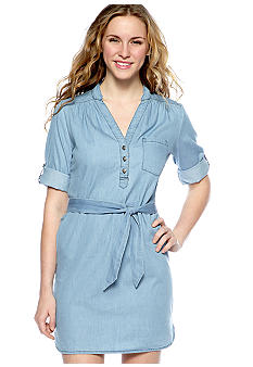 My Michelle Roll Sleeve Denim Shirtdress