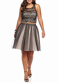 My Michelle Plus Size Two-Piece Skirt Set