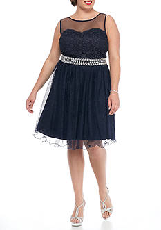 My Michelle Plus Size Beaded Waist Fit and Flare Party Dress