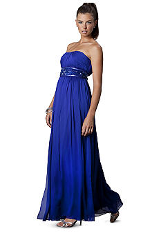 JS Collections Strapless Beaded Empire Waist Gown