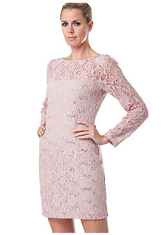 JS Collections Long-Sleeved Allover Lace Dress