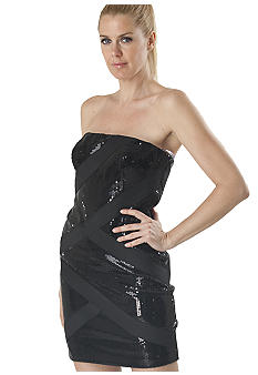 JS Collections Strapless Sequin Dress