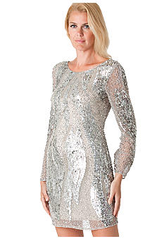 JS Collections Long-Sleeved Allover Sequins Dress