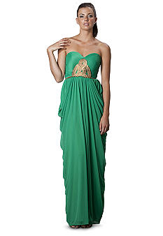 JS Collections Strapless Draped Gown