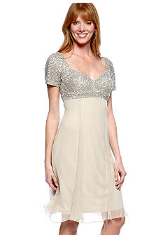 JS Collections Short-Sleeved Beaded Bodice Swing Dress