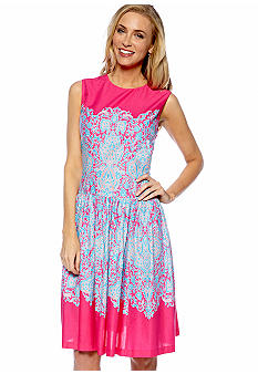 Evan-Picone Dress Sleeveless Fit and Flare Printed Dress